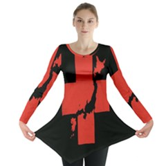 Sign Health Red Black Long Sleeve Tunic