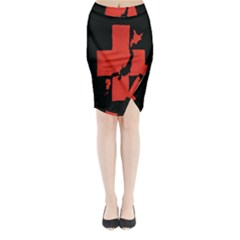 Sign Health Red Black Midi Wrap Pencil Skirt