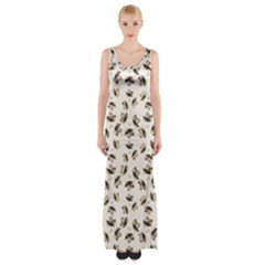Autumn Leaves Motif Pattern Maxi Thigh Split Dress