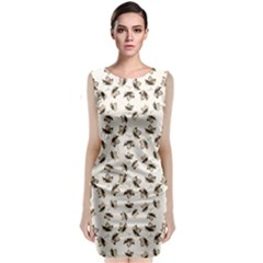 Autumn Leaves Motif Pattern Classic Sleeveless Midi Dress