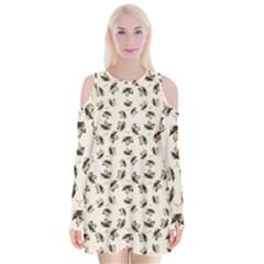 Autumn Leaves Motif Pattern Velvet Long Sleeve Shoulder Cutout Dress