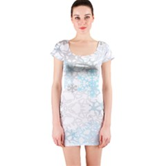 Sign Flower Floral Transparent Short Sleeve Bodycon Dress