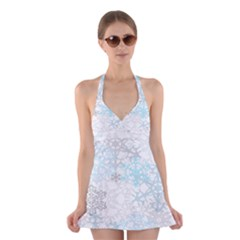 Sign Flower Floral Transparent Halter Swimsuit Dress
