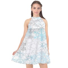 Sign Flower Floral Transparent Halter Neckline Chiffon Dress