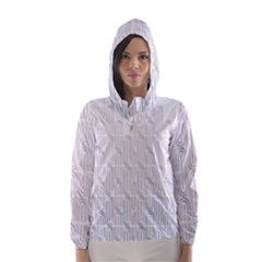 Seamless Horizontal Modern Stylish Repeating Geometric Shapes Rose Quartz Hooded Wind Breaker (Women)