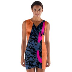 Recursive Reality Number Wrap Front Bodycon Dress