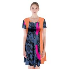 Recursive Reality Number Short Sleeve V-neck Flare Dress