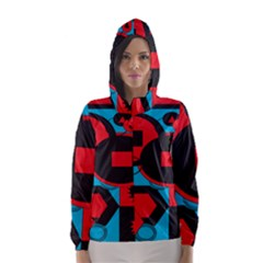 Stancilm Circle Round Plaid Triangle Red Blue Black Hooded Wind Breaker (Women)