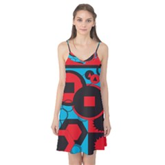 Stancilm Circle Round Plaid Triangle Red Blue Black Camis Nightgown