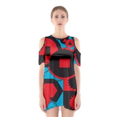 Stancilm Circle Round Plaid Triangle Red Blue Black Shoulder Cutout One Piece