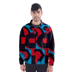 Stancilm Circle Round Plaid Triangle Red Blue Black Wind Breaker (Men)