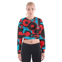 Stancilm Circle Round Plaid Triangle Red Blue Black Cropped Sweatshirt
