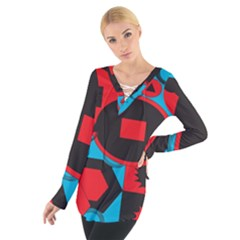 Stancilm Circle Round Plaid Triangle Red Blue Black Women s Tie Up Tee