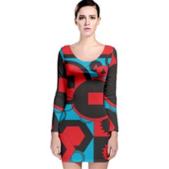 Stancilm Circle Round Plaid Triangle Red Blue Black Long Sleeve Velvet Bodycon Dress