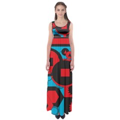 Stancilm Circle Round Plaid Triangle Red Blue Black Empire Waist Maxi Dress