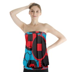 Stancilm Circle Round Plaid Triangle Red Blue Black Strapless Top