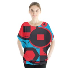 Stancilm Circle Round Plaid Triangle Red Blue Black Blouse
