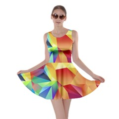 Triangles Space Rainbow Color Skater Dress