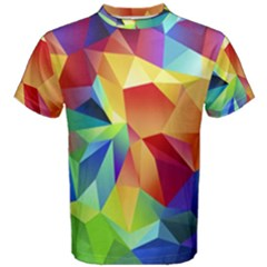 Triangles Space Rainbow Color Men s Cotton Tee