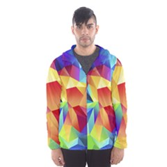 Triangles Space Rainbow Color Hooded Wind Breaker (Men)