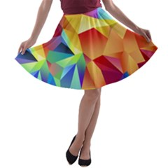 Triangles Space Rainbow Color A-line Skater Skirt