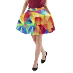 Triangles Space Rainbow Color A-Line Pocket Skirt