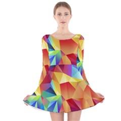 Triangles Space Rainbow Color Long Sleeve Velvet Skater Dress