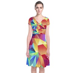 Triangles Space Rainbow Color Short Sleeve Front Wrap Dress
