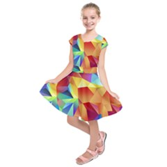 Triangles Space Rainbow Color Kids  Short Sleeve Dress
