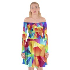 Triangles Space Rainbow Color Off Shoulder Skater Dress