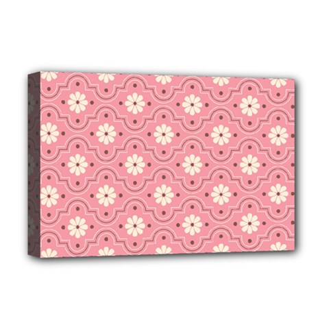 Sunflower Star White Pink Chevron Wave Polka Deluxe Canvas 18  x 12