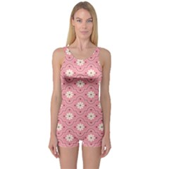 Sunflower Star White Pink Chevron Wave Polka One Piece Boyleg Swimsuit
