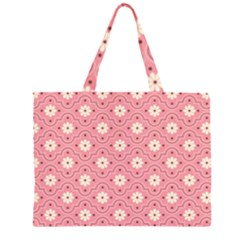 Sunflower Star White Pink Chevron Wave Polka Large Tote Bag
