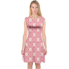 Sunflower Star White Pink Chevron Wave Polka Capsleeve Midi Dress