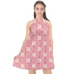Sunflower Star White Pink Chevron Wave Polka Halter Neckline Chiffon Dress