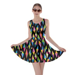 Skulls Bone Face Mask Triangle Rainbow Color Skater Dress