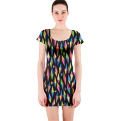 Skulls Bone Face Mask Triangle Rainbow Color Short Sleeve Bodycon Dress