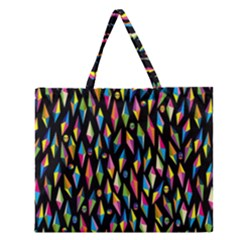 Skulls Bone Face Mask Triangle Rainbow Color Zipper Large Tote Bag