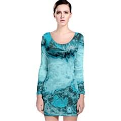 Abstraction Long Sleeve Velvet Bodycon Dress