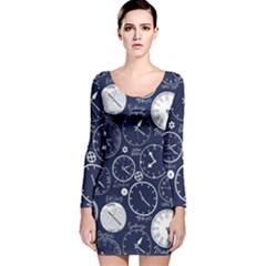 World Clocks Long Sleeve Velvet Bodycon Dress