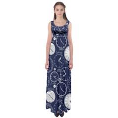 World Clocks Empire Waist Maxi Dress