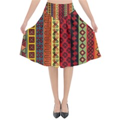 Tribal Grace Colorful Flared Midi Skirt