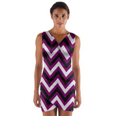 Zigzag pattern Wrap Front Bodycon Dress