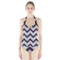 Zigzag pattern Halter Swimsuit