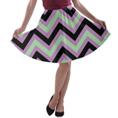 Zigzag pattern A-line Skater Skirt