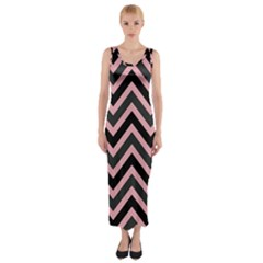 Zigzag pattern Fitted Maxi Dress