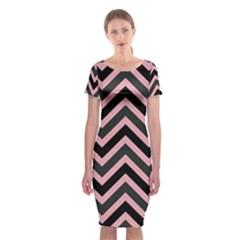 Zigzag pattern Classic Short Sleeve Midi Dress
