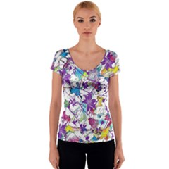 Lilac Lillys Women s V-Neck Cap Sleeve Top