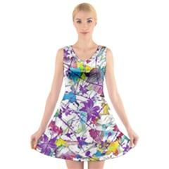 Lilac Lillys V-Neck Sleeveless Skater Dress