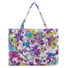 Lilac Lillys Medium Zipper Tote Bag